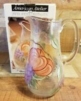 American Atelier Fifth Avenue Crystal Pompei Fruit Crackled Glass Pitcher Art
