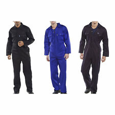 Click Polycotton Mens Stud Boiler Suit Overalls Coveralls Black Navy Royal Blue