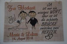 """A4 Schild """"Hochzeit Wunschnamen Datum"""" - handmade - Tapete creme beige meliert"""