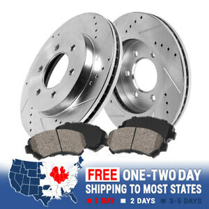 Front Drill Slot Brake Rotors And Ceramic Pads For Cadillac Chevy GMC 4WD 6Lug