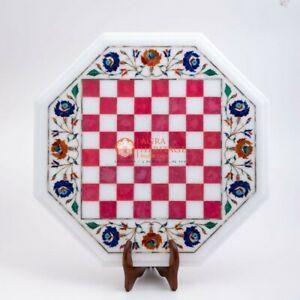 Handmade White Chess Inlaid Top Chess Indoor Table Pink Inlay Semi Precious Arts