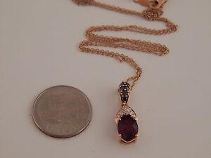 1.45 tcw LEVIAN Chocolate & White SI Diamond  Red Garnet Pendant 14k Rose Gold
