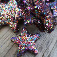48 x Bunte Sterne Streuen 4-5cm Glitzer Dekosterne Styropor Weihnachtsdeko