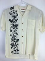 Paradise Found -  Hawaiian Shirt, Tan w/ Black Hawaiian Flowers Size R-10  Large