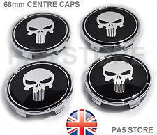 4x Punisher Skull BMW centro ruota Hub Caps BBS 68mm MV1 MV2 E46 E36 E90 E34 UK