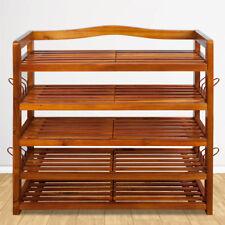 5 Tier Wooden Shoe Rack Storage Organiser Stand Cabinet Home Footwear Natural