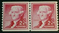 US Scott  #1055, 2 Cent Jefferson, Coil Line Pair, MNH OG VF