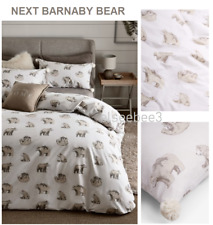 "BNWT Gorgeous Next ""Barnaby Bear"" Single Duvet Set, Pom Poms On Pillowcase"