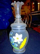 Hand Blown Hand Painted Bedside Floral Pitcher with Tumbler Stopper Free Shippin