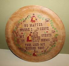 "12"" DECRATIVE WOODEN PLATE WALL HANGING KITSCHY 50'S VINTAGE KITCHEN FOLK ART"