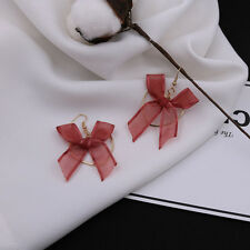 Fashion Women Ladies Ribbon Bow Earrings Dangle Heart-shape Copper Earrings