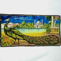 Vtg Velvet Peacock Taj Mahal Tapestry Rug Wall Hanging 38 x 19 Mid Century