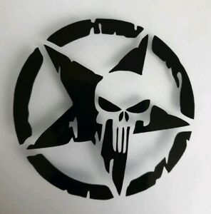 2x Skull Star Punisher Car Van Vinyl Sticker Window Hobby Campervan 3in Black