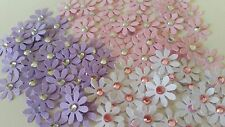 25 Mixed Colour Flower Die Cut Embellishments with Rhinestones