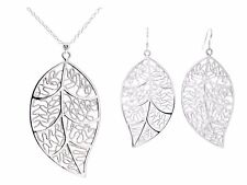 Sterling silver leaf necklace and earrings set with purple bag black gift box