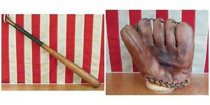 Vintage Louisville Slugger Baseball Bat w/ MacGregor Glove Red Schoendienst HOF