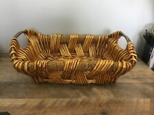 Large 18x13 Woven Wicker Basket W/ Handles Decor Serving