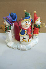 """5 Snowman Stoneware Candle Holder & Red Candle Figurine 5.5"""" Across 5"""" Tall"""