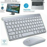 Slim 2.4Ghz Wireless Keyboard and Cordless Mouse For PC Laptop Desktop Macbook