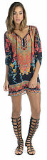 Tolani Chloe Black & Coral Floral Silk Print Tunic/Top Dress Size X-Small NEW!