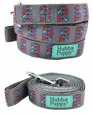 Small 4ft Dog Leash Retro Pretty Petals Grey with Purple Pink by Hubba Puppy