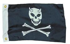 Devil Pirate Jolly Roger Skull Flag Polyester 12 X 18 Inches Boat Bike Fort