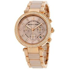 BRAND NEW MICHAEL KORS MK5896  PARKER ROSE GOLD DIAL STRAP LADIES CHRONO WATCH