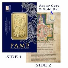 1 Gram PAMP 999.9 Pure Gold Bullion Lady Fortuna Codex Collector Card Assay Cert