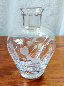 Vintage Lead Crystal Cut Glass Fuchsia Etched Bud / Posey Vase 11.5 cm High.