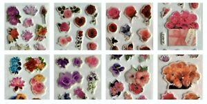 Beautiful Flowers 3D Puffy Stickers for Kids Reward Scrapbook Craft Sheets