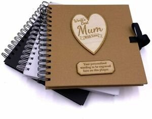 Personalised Best Mum Scrapbook Photo album Wooden Engraving Choice Of Colours