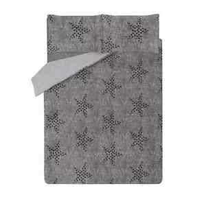 Grey Star Print Teddy Fleece Duvet Set KING SIZE Bedding Cosy Warm Winter