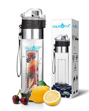 AquaFrut Fruit Infuser Water Bottle-One Click Open Lid (24oz, Black) USA Seller!