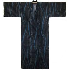 "Japanese Yukata Kimono Robe Sash Belt Men 60"" Cotton Navy Stripe Made in Japan"