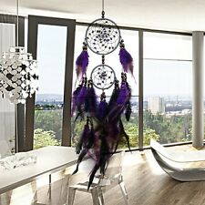 Indian Style Purple Big Round Dream Catcher Wind Chimes Girl Room Ornament WT