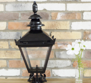60cm Black Vintage Victorian Garden Street Post Lantern Lamp Top Glass Light