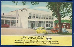 Mt Vernon Hotel on Route 66 Mt Vernon Missouri mo linen postcard