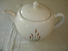 New listing Vitrified China Cattails Tea Pot Brown Cattails Sears Roebuck 8482