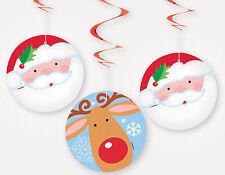 3 hanging Christmas Swirl decoration Santa & Reindeer CHEAP CHRISTMAS DECORATION