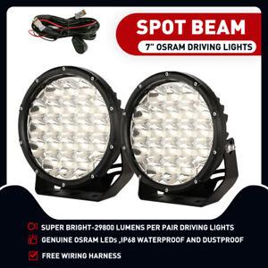 7inch Osram Spot LED Driving Lights Spotlights Offroad 4x4 Black Work HID Round