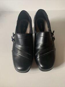 Women's Thom McAn Deidre Black Leather Slip On Shoes Wedge Heel Clogs Size 9.5M
