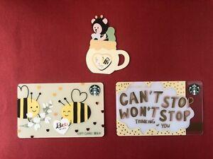 CS2104 2021 China Starbucks coffee Bee gift cards 3pcs