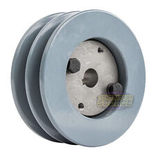 "Cast Iron 4.5"" 2 Groove Dual Belt B Section 5L Pulley w/ 5/8"" Sheave Bushing"