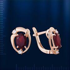 Rose Rotgold Gold 585 leichte Ohrringe mit Granat. 2.82g . Neu  Glänzend.