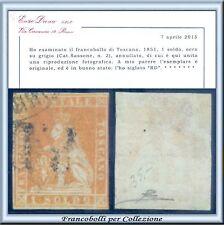 Italia ASI 1851 Toscana Marzocco 1 soldo ocra su grigio n. 2 Certif. Diena Usato