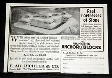 1917 OLD MAGAZINE PRINT AD, RICHTER'S ANCHOR BLOCKS, BUILD A FORTRESS OF STONE!