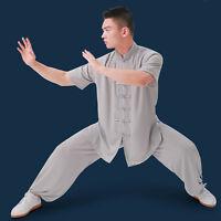 Men's Cotton Silk Tai Chi Uniforms Chinese Kung Fu Wushu Martial Arts Suits