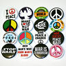 Peace Anti-War Badges Buttons Pins Set x 16 - Size 32mm Peace Sign Symbol No War