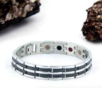 MEN'S Authentic Pur life Negative Ion Bracelet ELEGANT T STAINLESS BLACK BALANCE