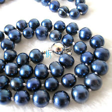 """34"""" 8-10mm Navy Freshwater Pearl Necklace Strand Cultured"""